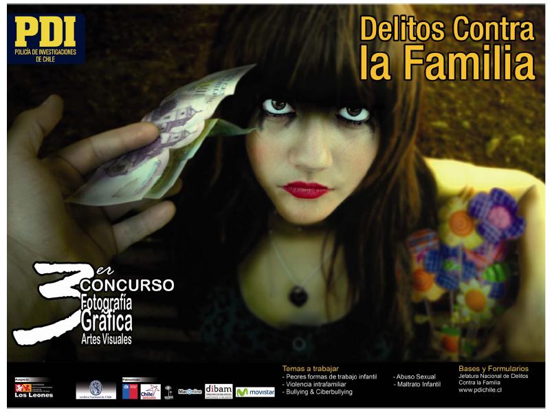 Afiche para el tercer Concurso Nacional de la Policia de Investigaciones en delitos contra la familia.